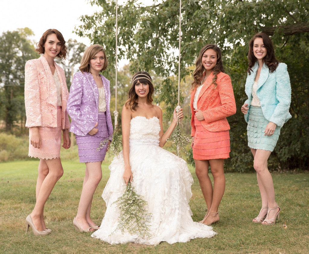Bridesmaids Lace Suits for a Winter Wedding