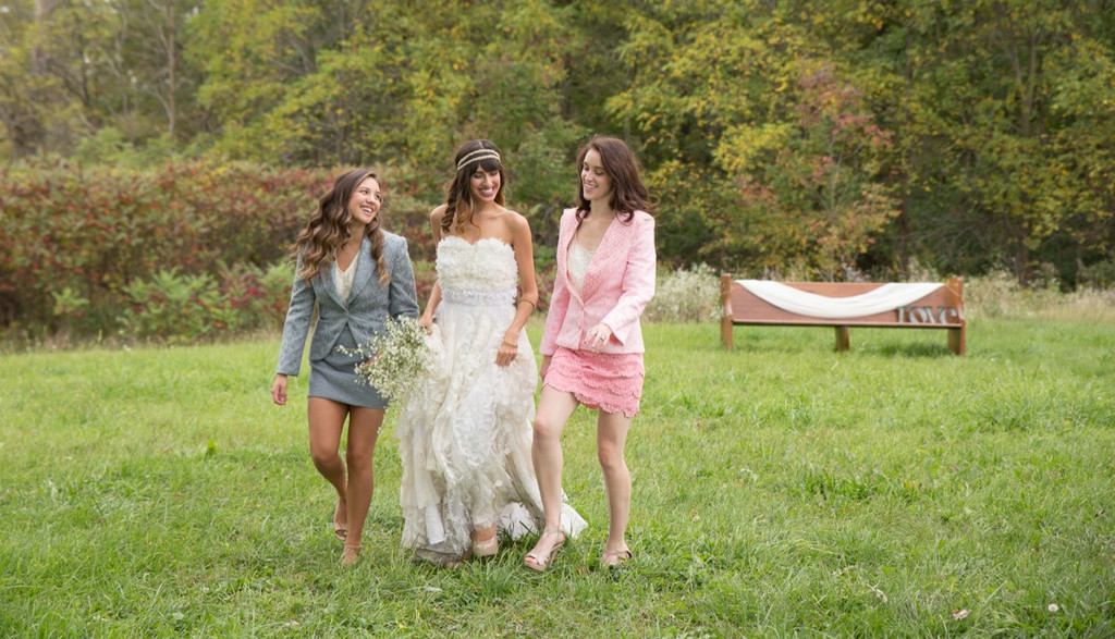 Bridesmaids Lace Suits for a Rustic Winter Wedding