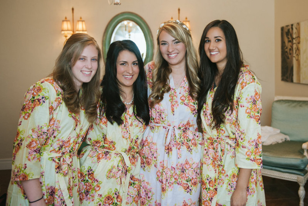 Light Yellow Floral Posy Robes for bridesmaids | Getting Ready Bridal Robes