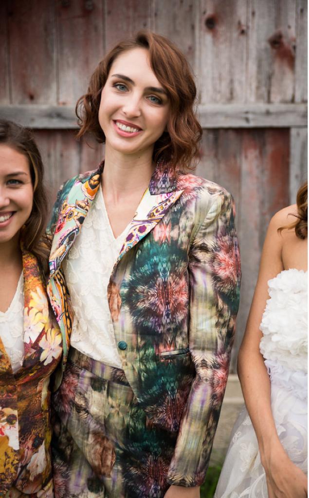 Dark Green Splash Bridesmaids Floral Suit for a Winter Wedding