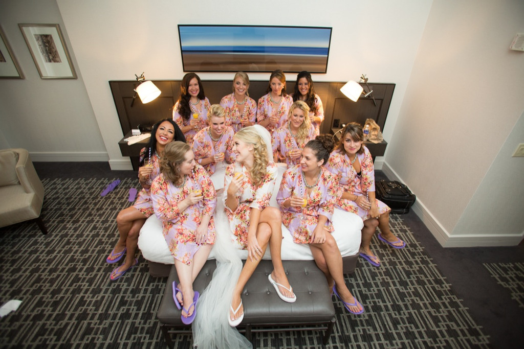 Lilac Floral Posy Robes for bridesmaids | Getting Ready Bridal Robes