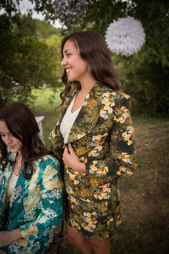 Garden Green Bridesmaids Floral Suit for a Winter Wedding