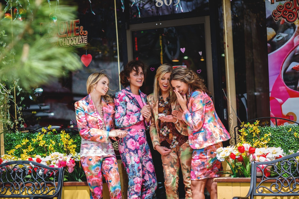Bridesmaids Floral Suits for a Lovely Winter Wedding