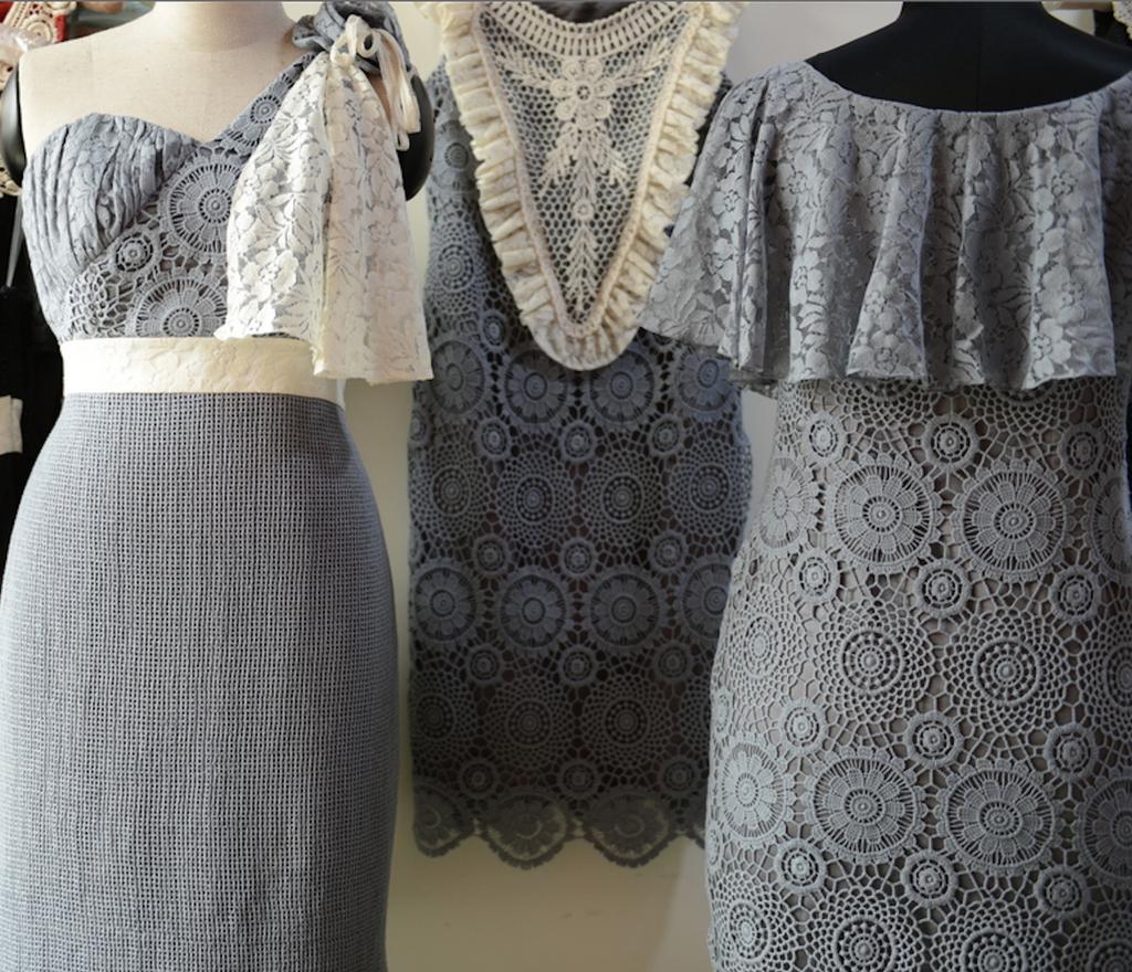 Dreamy Gray Wedding Palette Lace Bridesmaids Dresses