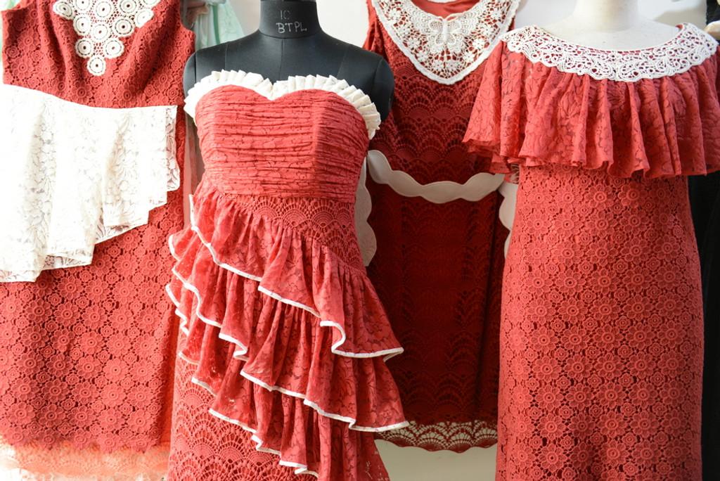 Dreamy Red Wedding Palette Lace Bridesmaids Dresses
