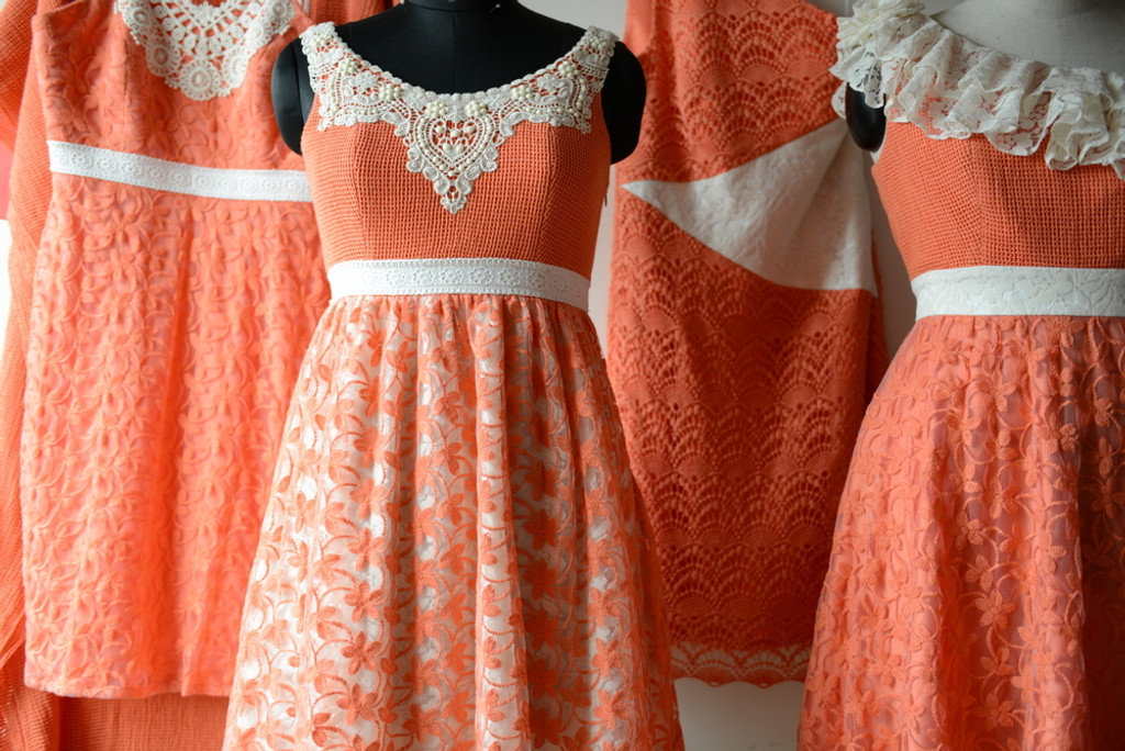 Dreamy Coral Wedding Palette Lace Bridesmaids Dresses