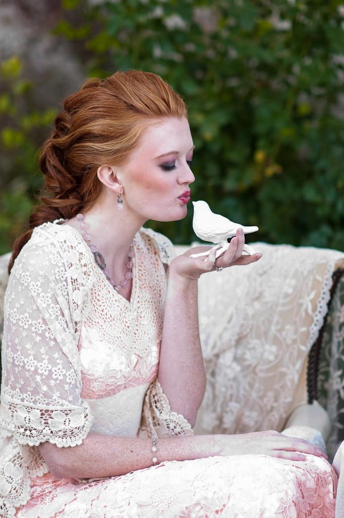 Ravishing Peach Haute Couture Lace Dress