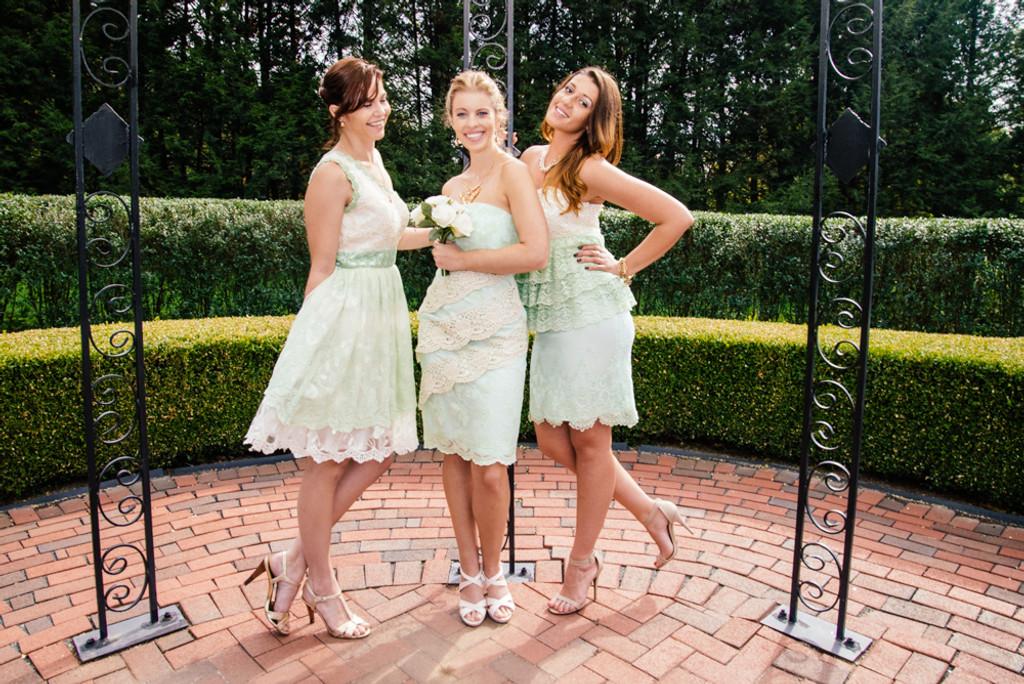 Lacey Mint Wedding Palette Lace Bridesmaids Dresses