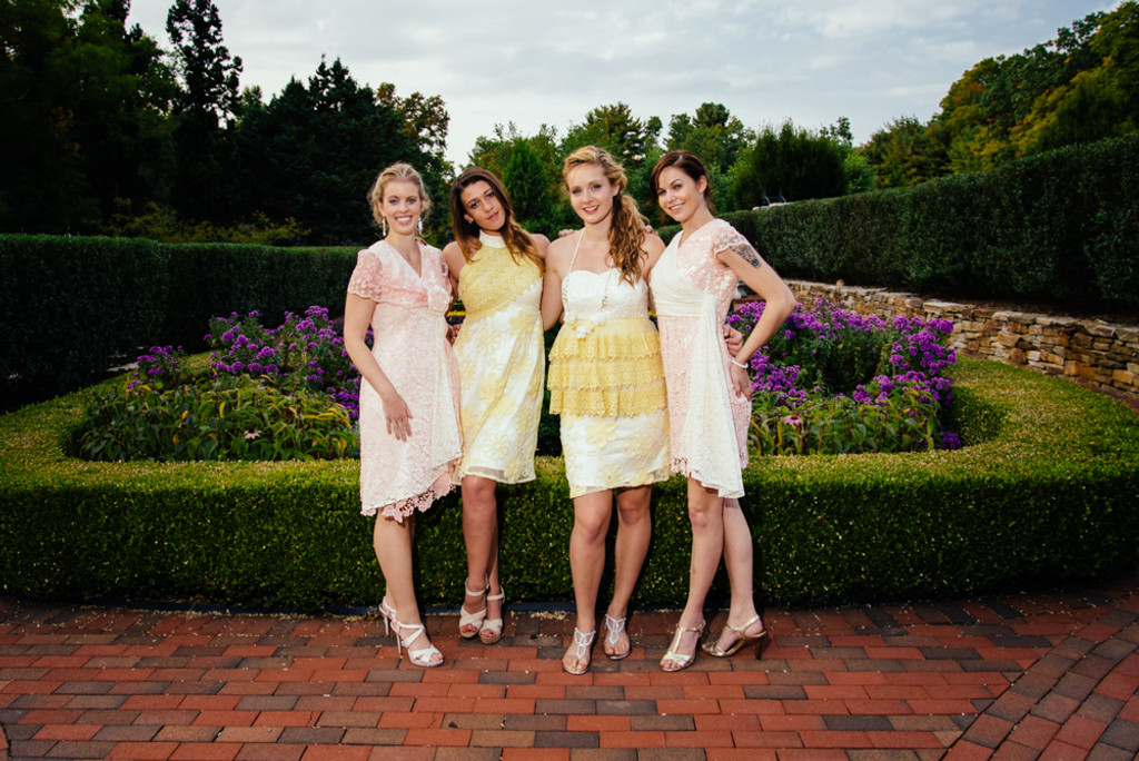 Dreamy Yellow Peach Wedding Palette Lace Bridesmaids Dresses