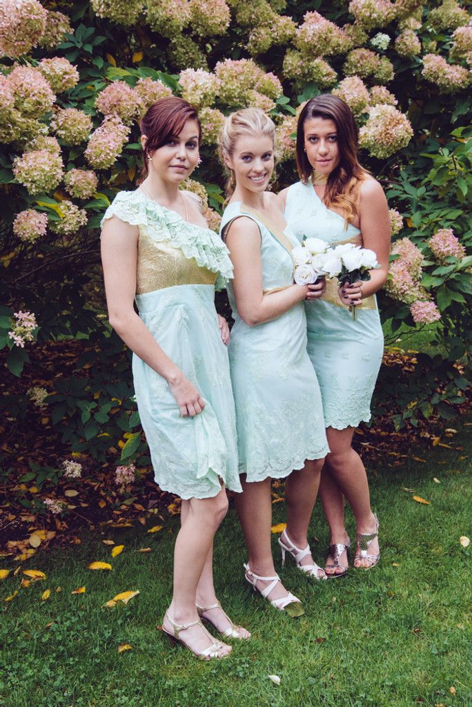 Mint and Gold Shimmery Wedding Palette Bridesmaids Dresses