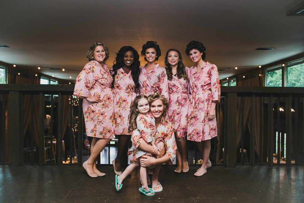 Pink Floral Posy Robes for bridesmaids   Getting Ready Bridal Robes