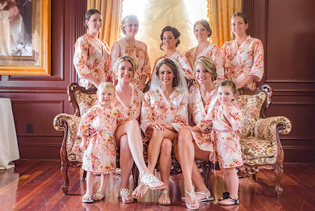 Pink Floral Posy Robes for bridesmaids | Getting Ready Bridal Robes