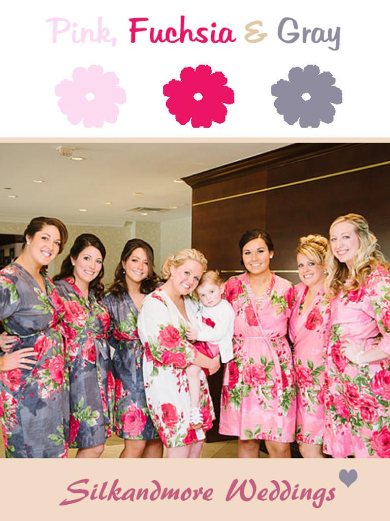 Gray and Deep Pink Wedding Color Robes