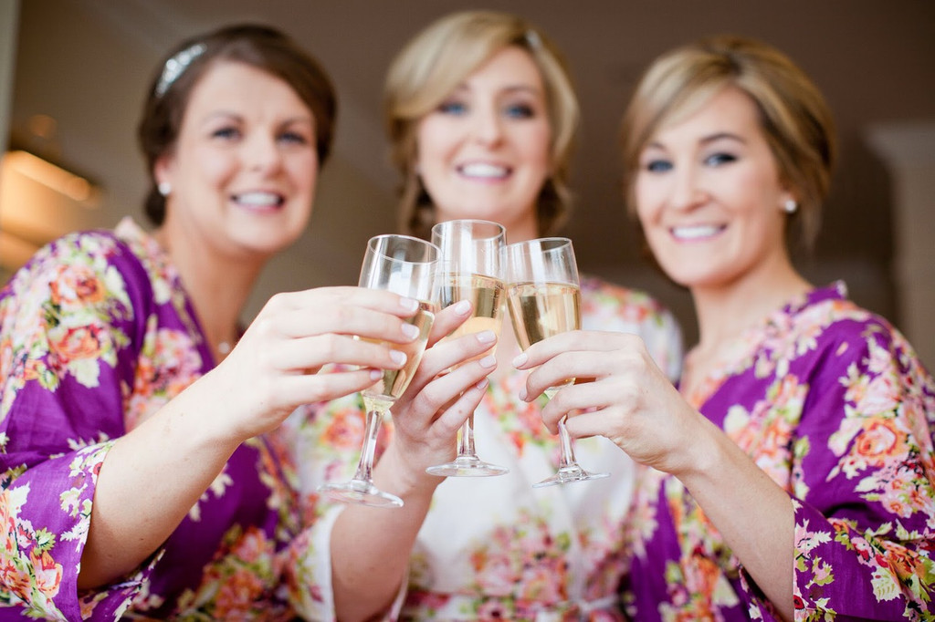 Purple Floral Posy Robes for bridesmaids | Getting Ready Bridal Robes