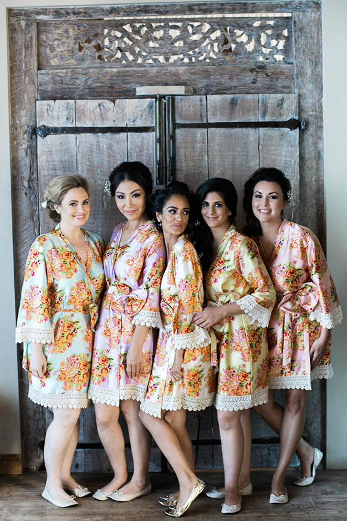 Silk Floral Lace Trim Robes