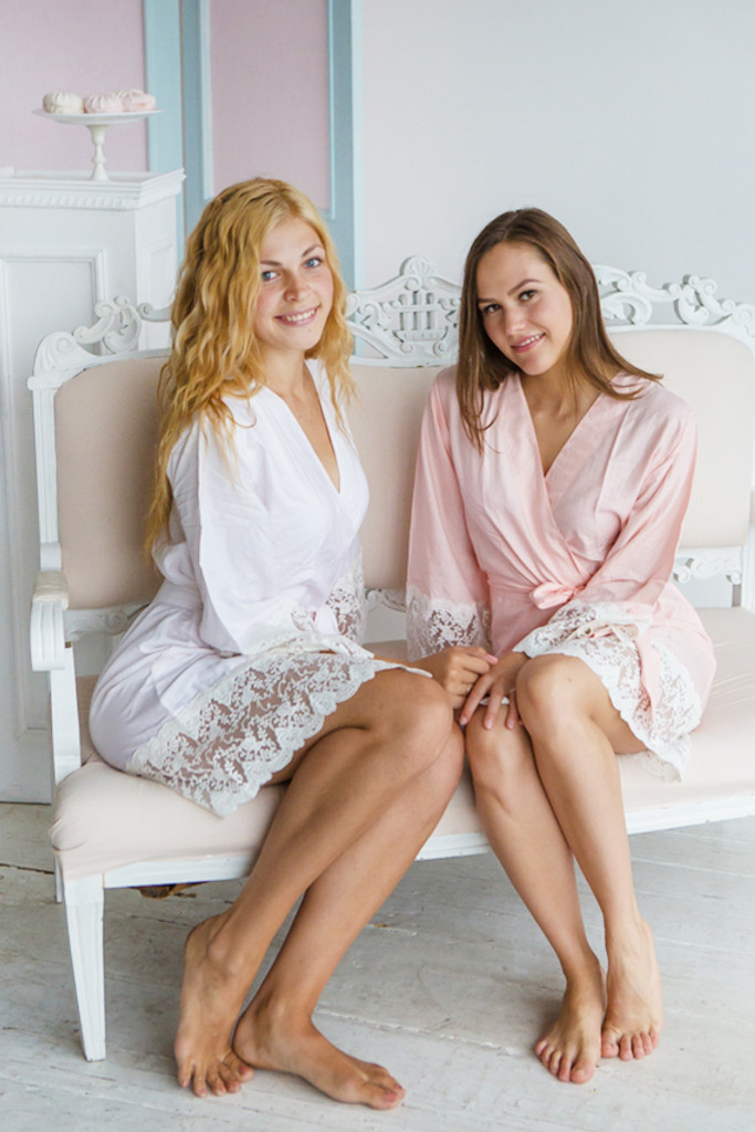 Solid Blush and White Rayon Lace Trim Robes