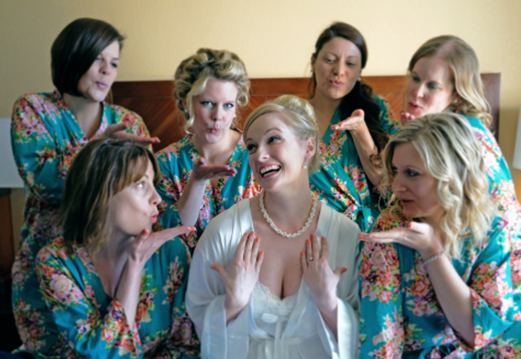Teal Floral Posy Robes for bridesmaids | Getting Ready Bridal Robes