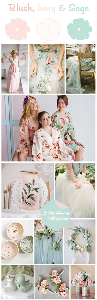 Blush, Ivory and Sage Wedding Color Theme