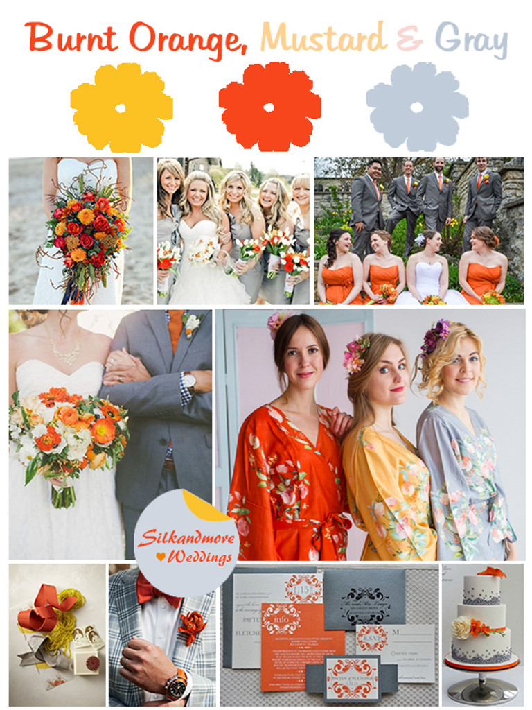 Burnt Orange, Mustard and Gray Wedding Colors