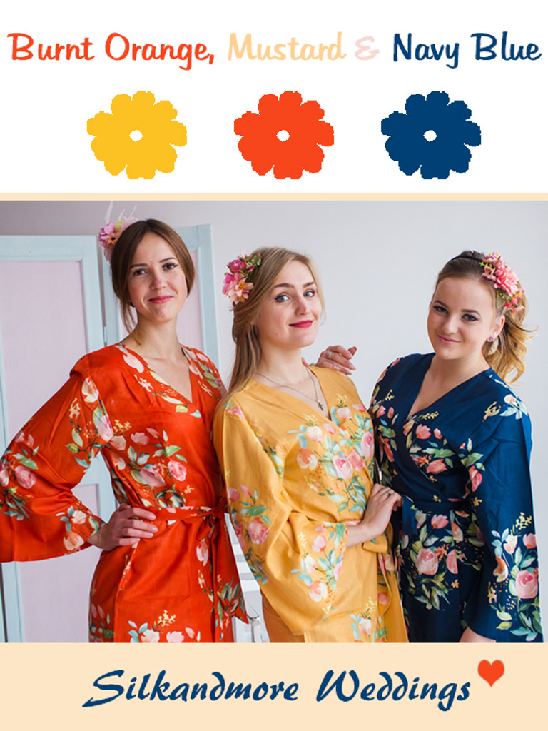 Mustard, Burnt Orange and Navy Blue Wedding Color Robes