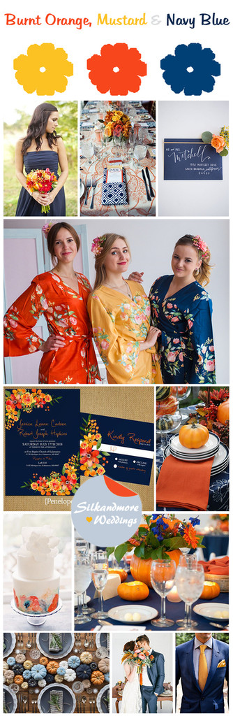 Mustard, Burnt Orange and Navy Blue Wedding Color Theme