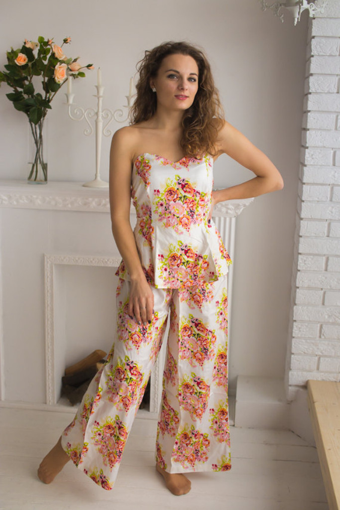 Strapless Style Long PJs in Floral Posy Pattern