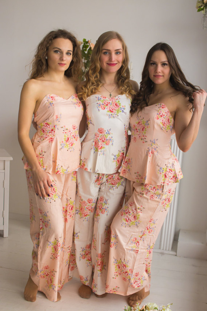 Blush Strapless Style PJs in Faded Flowers Pattern_full length