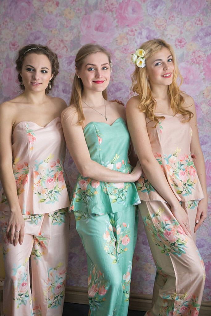 Sage, Blush and Dusty Rose Wedding Color PJs in Strapless Style_Full Length