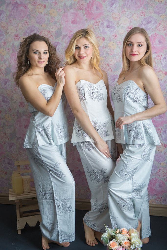 Strapless Style PJs in Floral Sketch Pattern_Full Length