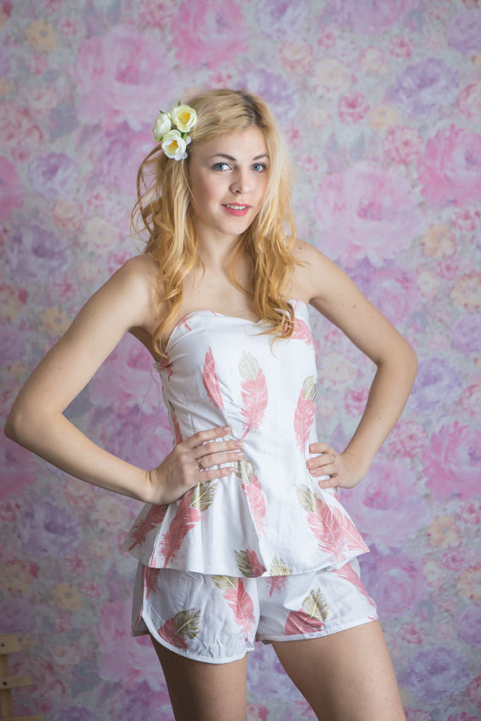 Strapless Style PJs in a feather rhyme Pattern
