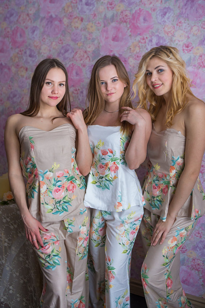Strapless Style Long PJs in Angel Song Pattern