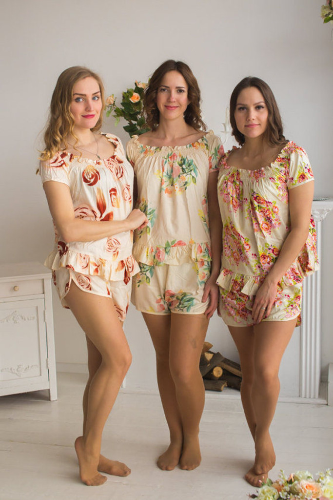 Pj sets off shoulder style pjs robes by silkandmore nude wedding color pjs in off shoulder style junglespirit Gallery