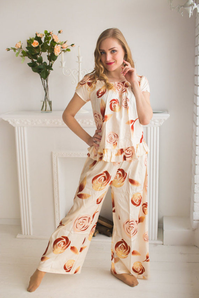 Nude Wedding Color Long PJs in Off-Shoulder Style