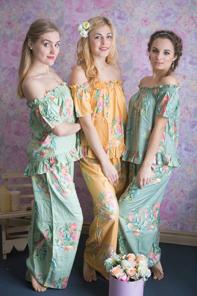 Mint, Sage and Mustard Gold Wedding Color Long PJs in Off-Shoulder Style