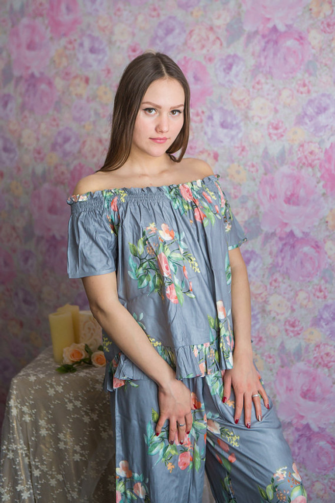 Silver, Gray and Teal Wedding Color Long PJs in Off-Shoulder Style in Smiling Blooms Pattern