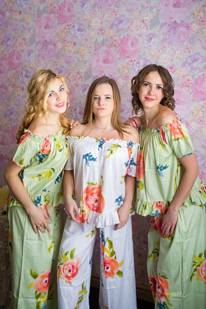 Off-Shoulder Style Long PJs in Smiling Blooms Pattern