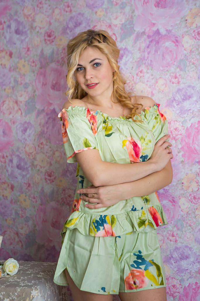 Off-Shoulder Style PJs in Smiling Blooms Pattern