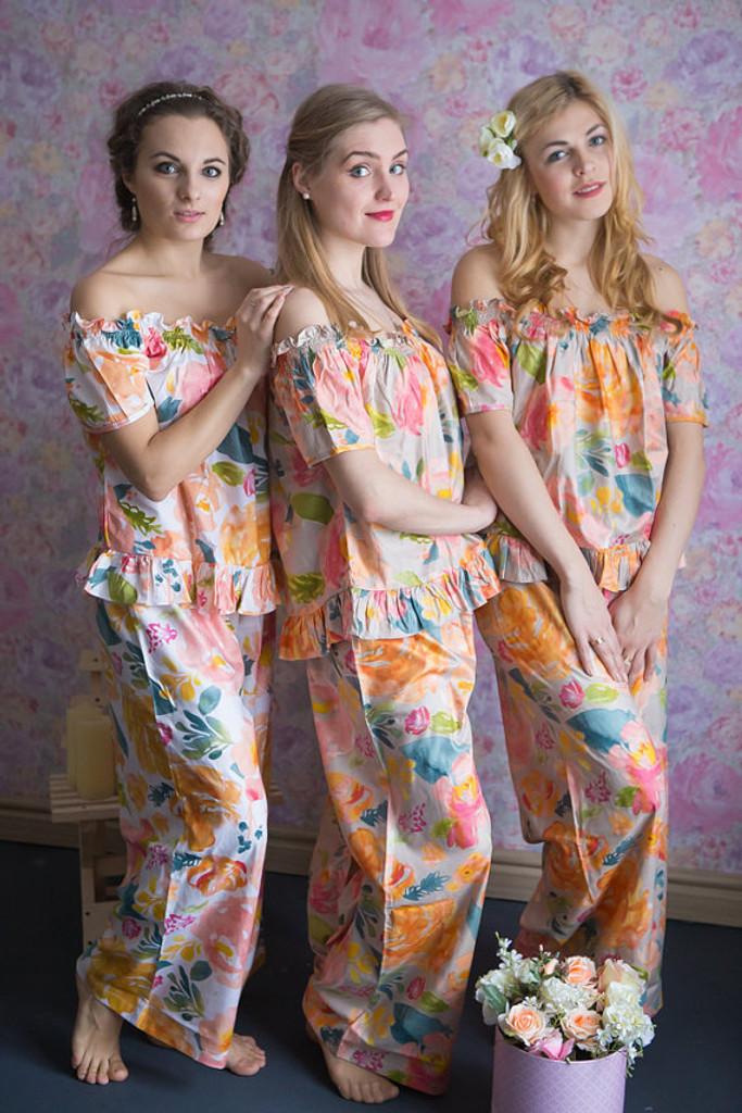 Off-Shoulder Style Long Pj Sets in Her Petal Garden Pattern