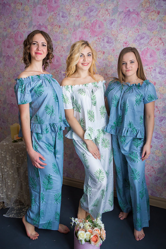 Off-Shoulder Style PJs in Tropical Delight Palm Leaves Pattern_FL