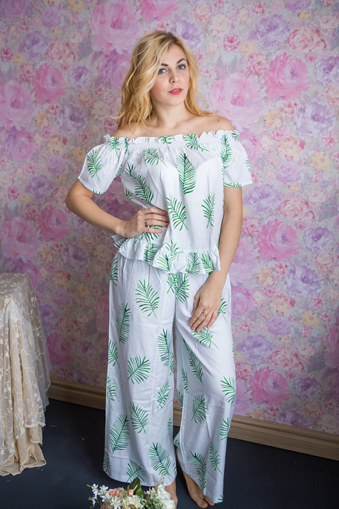 Off-Shoulder Style Long PJs in Tropical Delight Palm Leaves Pattern