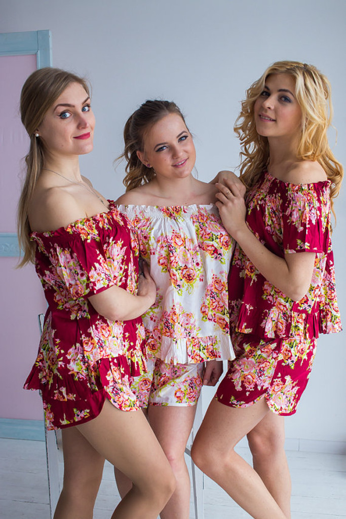 Off-Shoulder Style PJs in Floral Posy Pattern