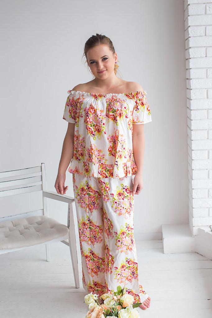 Off-Shoulder Style Long PJs in Floral Posy Pattern