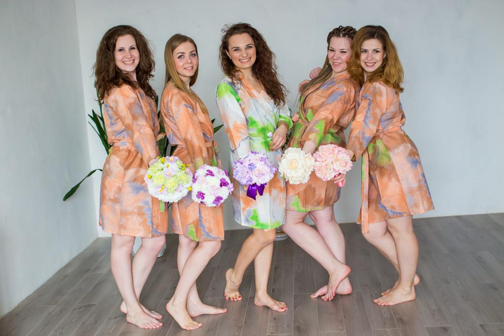 Peach Batik Watercolor Robes for bridesmaids | Getting Ready Bridal Robes