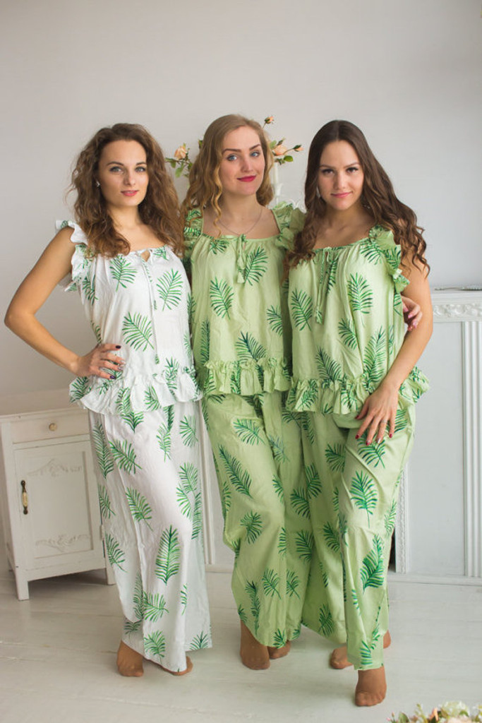 Ruffled Style Long PJs in Tropical Delight Palm Leaves Pattern