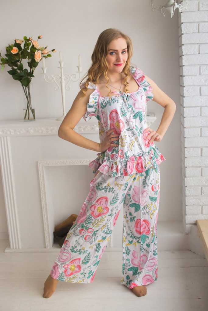 Ruffled Style Long PJs in Whimsical Giggles Pattern