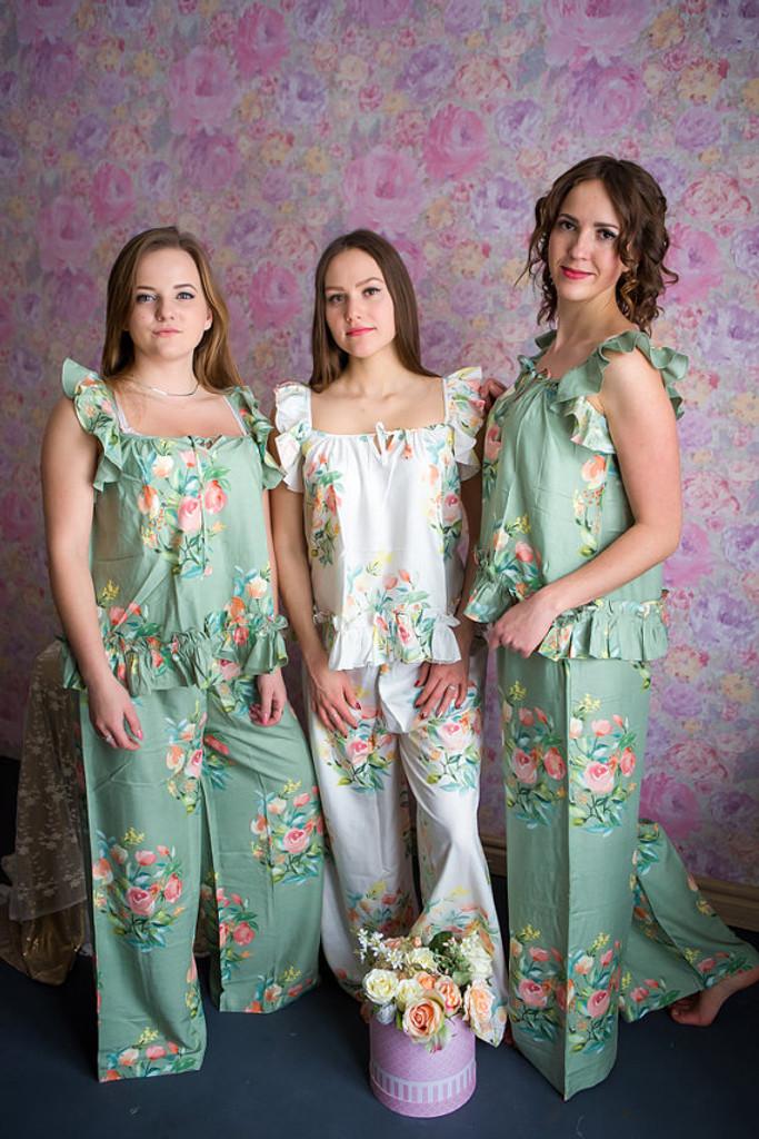 Ruffled Style Long PJs in Angel Song Pattern