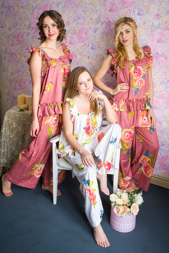 Ruffled Style PJs in Smiling Blooms Pattern_long