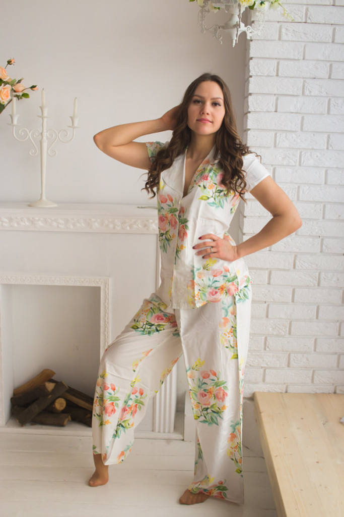 Notched Collar Long Style PJs in Angel Song Pattern