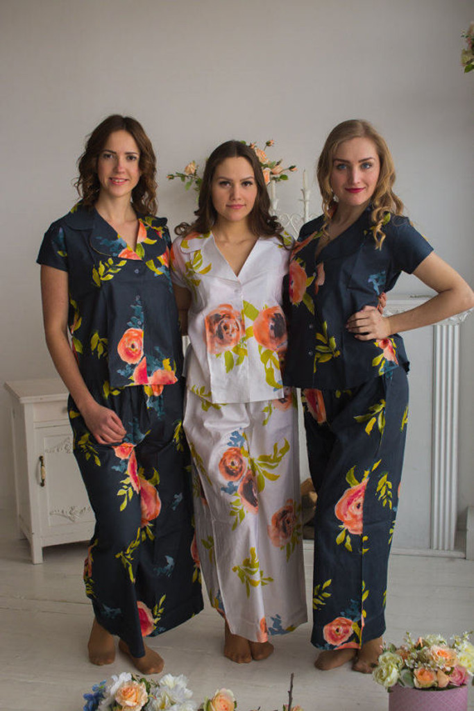 Notched Collar Style PJs in Smiling Blooms Pattern_long