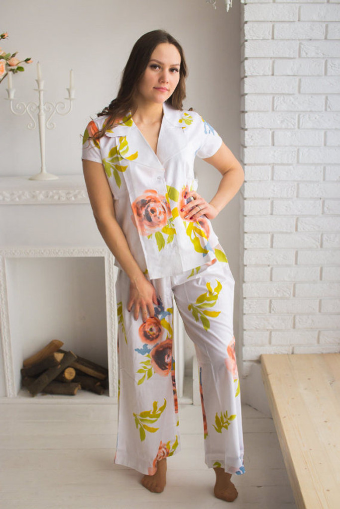 Notched Collar Style PJs in Smiling Blooms Pattern